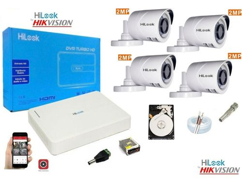 Kit Hilook By Hikvision 4 Cam Full Hd 20m Dvr 8c Turbo Hd