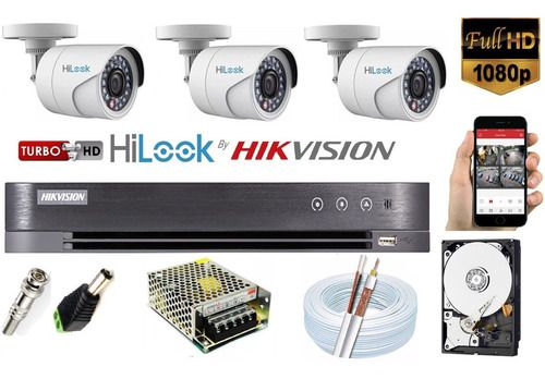 Kit Hikvision 3 Cam Hilook Fullhd 2.8mm Dvr Turbohd 4c K1