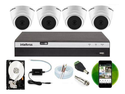 Kit Intelbras 4 Cam Fullhd 1220d 1080p Dvr Mhdx 3104 500gb