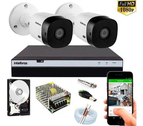 Kit Intelbras 2 Cameras Full Hd 1220b 20m 1080p Dvr Mhdx 3104 C/hd 500gb