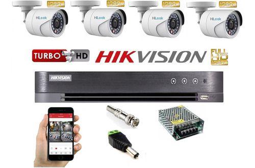 Kit Hikvision 04 Câmeras E Dvr Turbo Full Hd 1080p