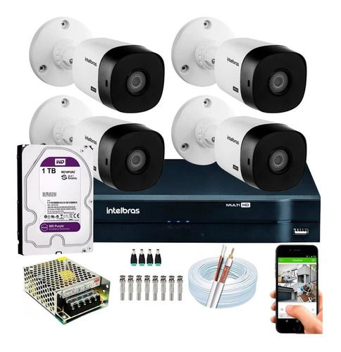 Kit Intelbras 4 Cam Vhl 1120b E Mhdx 1108 08ch C/hd Purple