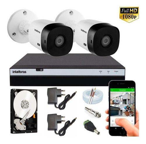 Kit Intelbras 2 Cam Full Hd 1220b 20m 1080p Dvr Mhdx 3104