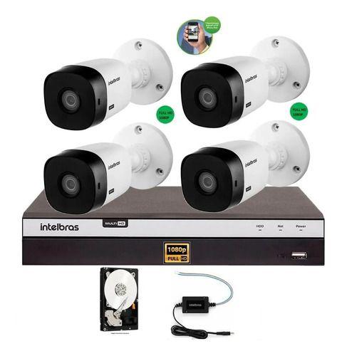 Kit Intelbras 4 Cam Fullhd 1220b 1080p Dvr Mhdx 3104 500gb