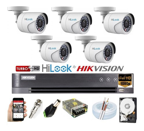 Kit Hikvision 5 Cam Fullhd 1080p Hilook Dvr 8 Ch Turbo Hd K1