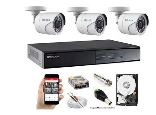 Kit 3 Câmera Hilook Fullhd 1080p+ Dvr 04c Hikvision 7204hghi C/hd 1tb