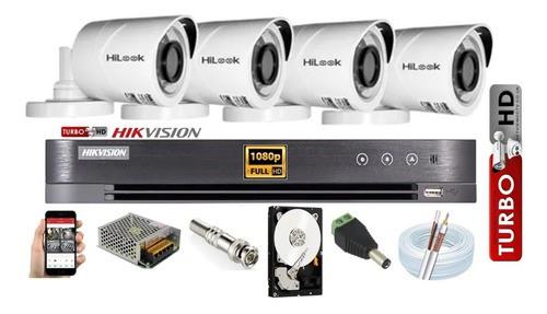 Kit Hikvision 4 Cam 1080p Hilook Dvr Turbo Hd 4c C/hd 1tb