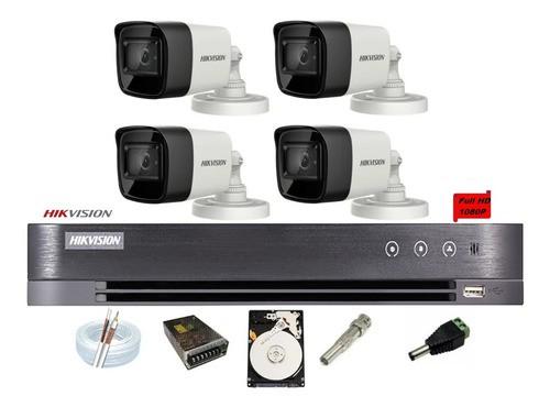 Kit Hikvision 04 Cam Full Hd 1080p Dvr 4ch Turbo Hd H265