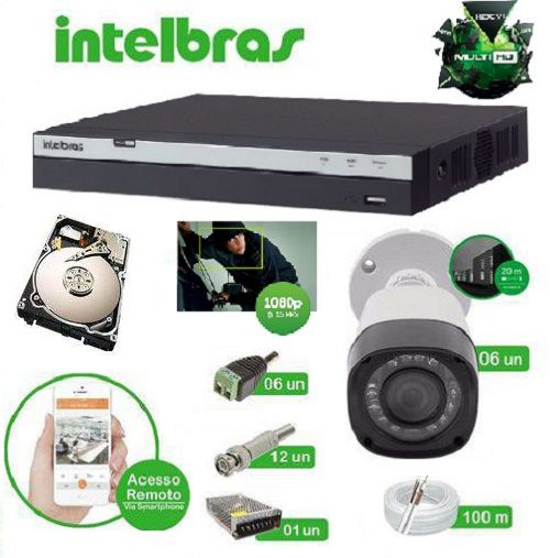 Kit Intelbras Multi HD - 6 Câmeras VHD 1220B Full HD 1080P 2.0MP -DVR MHDX 3008 08 canais 1080P HD 1 TB + Acessórios