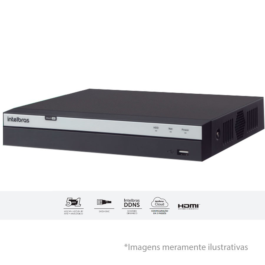 DVR Stand Alone MHDX 3108 08 Canais Full HD 1080p Multi HD + 04 Canais IP 5 Mp Intelbras