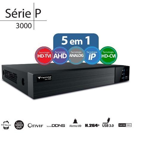 DVR Stand Alone Flex 5 em 1 TW-P3004 04 Canais Full HD 1080P HD-TVI / AHD / HDCVI / CVBS / IP Tecvoz