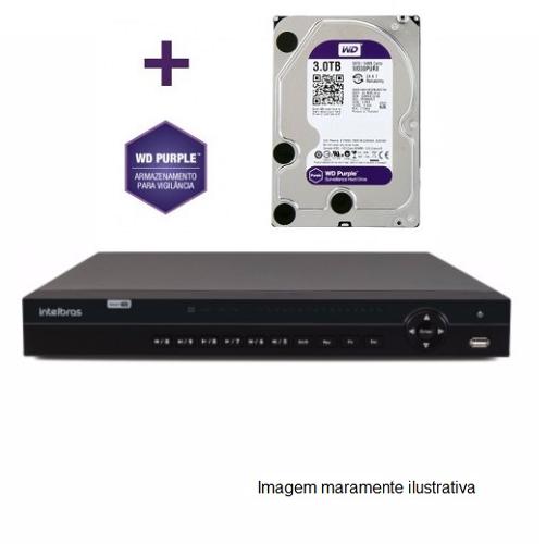 DVR Stand Alone Multi HD  MHDX-1032 - 32 Canais BNC ou 16 BNC + 16 IP - Resolução 1080N HDCVI, HDTVI, AHD, ANALÓGICO C/HD WD Purple 3 TB INTELBRAS