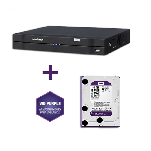 Dvr Stand Alone MHDX 1016 16 Canais Multihd Com HD WD 1TB Purple Intelbras