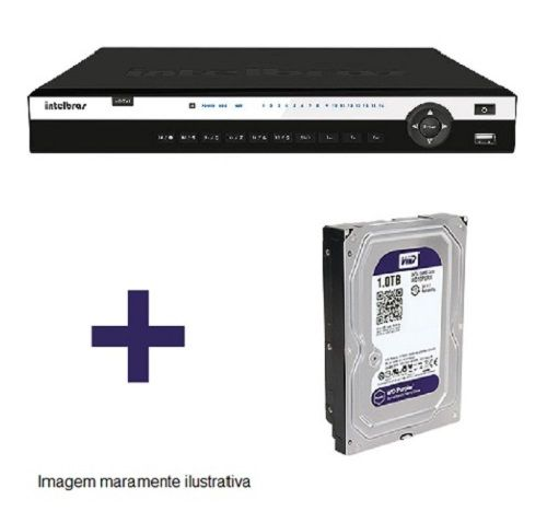 DVR Stand Alone Tríbrido HDCVI 3116 G2 16 Canais 1080P Full HD + HD WD Purple 1 TB Intelbras
