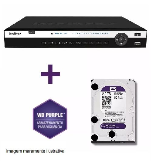 DVR Stand Alone Tríbrido HDCVI 3116 G2 16 Canais 1080P Full HD + HD WD Purple 2 TB Intelbras