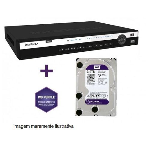 DVR Stand Alone Tríbrido HDCVI 3116 G2 16 Canais 1080P Full HD + HD WD Purple 3 TB Intelbras