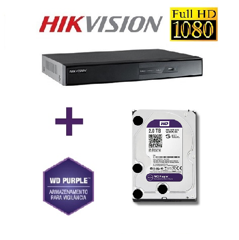 Dvr Stand Alone Turbo HD 16 canais  HDTVI Full HD 1080p DS-7216HGHI-SH Com HD WD Purple 2TB Hikvision