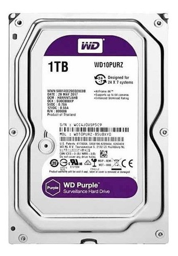 Hd Sata Western Digital Wd Purple 1tb Wd10purz Homologado Pela A Intelbras