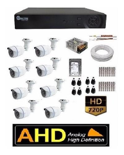 Kit 8 Câmeras Ahd 720p + Dvr Ahd 720p/1080p E Acessórios