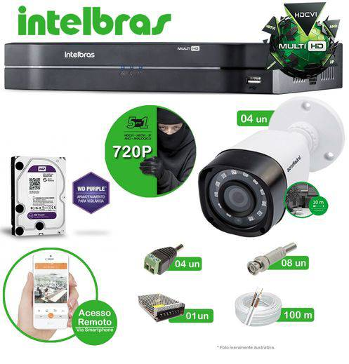 Kit Intelbras 4 câmeras Multi HD VHD 1010B G4 - DVR MHDX 1004 04 canais + HD 1 TB Purple + Acessórios