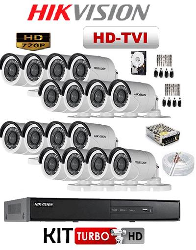 KIT DE CÂMERAS DE SEGURANÇA - 16 CÂMERAS 720P COM DVR 16CH HDTVI 720P HIKVISION