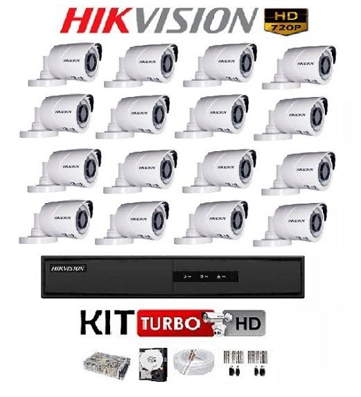 KIT DE CÂMERAS DE SEGURANÇA - 16 CÂMERAS INFRA HDTVI 720P COM DVR 16 CANAIS 1080N DS-7216HGHI-F1 HIKVISION