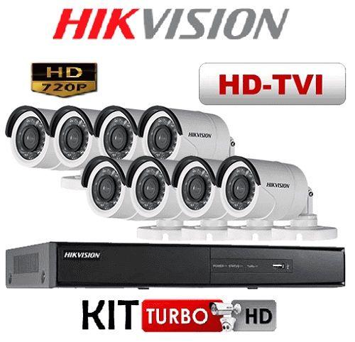 Kit de Câmeras de Segurança - 8 Câmeras HD 720P Hikvision Com DVR HD 8 CANAIS 720P Hikvision