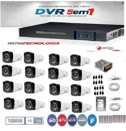 KIT DE CÂMERAS DE SEGURANÇA - DVR 16 CANAIS 1080N+ 16 CÂMERAS INFRA FLEX HD 720P 20 METROS -ANKO