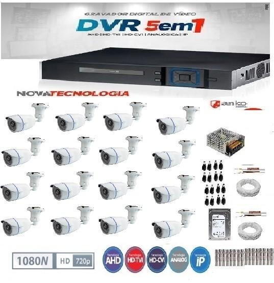 KIT DE CÂMERAS DE SEGURANÇA - DVR 16 CANAIS 1080N+ 16 CÂMERAS INFRA FLEX HD 720P 30 METROS -ANKO