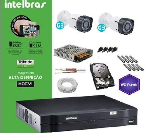 Kit Completo Intelbras Multi HD - DVR 1004 04 canais + 2 Câmeras VHD 1010B + HD 1 TB WD Purple + Acessórios