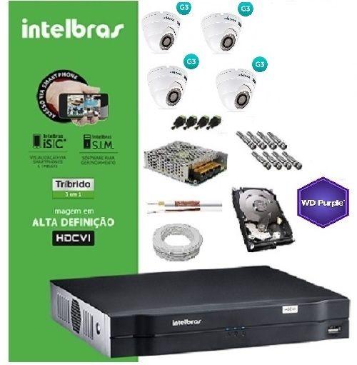 KIT COMPLETO MULTIHD INTELBRAS- DVR MHDX 1004 04CH + 4CÂMERAS INFRA VHD 3120D 20M 720P2.8mm