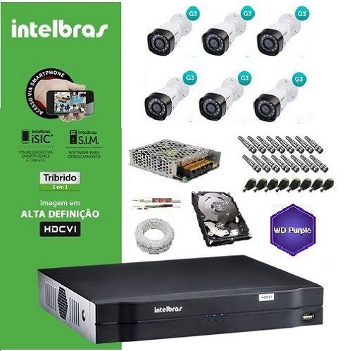 KIT COMPLETO MULTIHD INTELBRAS- DVR MHDX 1008 08CHI + 6 Câmeras Infra VHD 1010B 720P