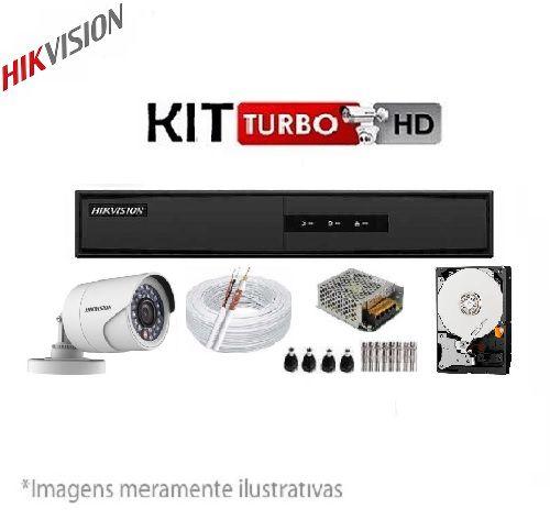 Kit Hikvision - 2 Câmeras Infra HDTVI 720P Com DVR 4CH 1080N DS-7204HGHI-F1 + HD 500GB