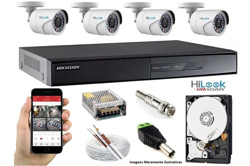 Kit Hikvision 4 Cam Hilook Full Hd 2.8mm Dvr 08ch Turbo C/1t