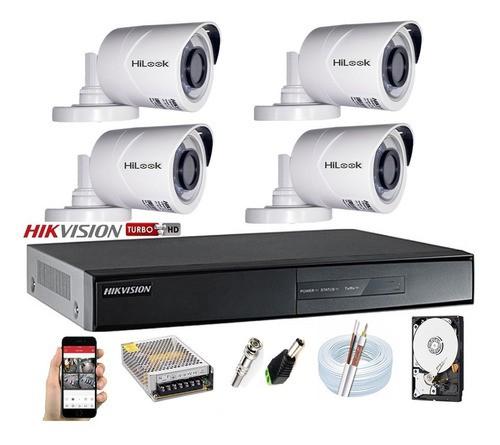 Kit Hikvision 4 Hilook 1080p Dvr 04ch 7204 Cabo Utp E Balun