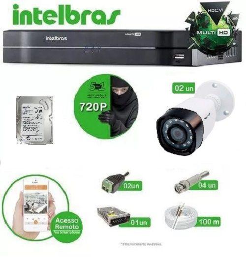 Kit Intelbras 2 câmeras Multi HD VHD 1010B G4 - DVR MHDX 1004 04 canais + HD 500GB + Acessórios