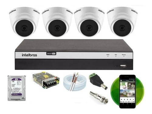 Kit Intelbras 4 Cam Full Hd 1220d + Dvr 3104 C/hd Homologado