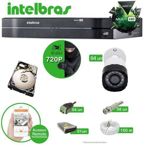 Kit Intelbras 4 câmeras Multi HD VHD 1010B G4 - DVR MHDX 1004 04 canais + HD 1 TB + Acessórios