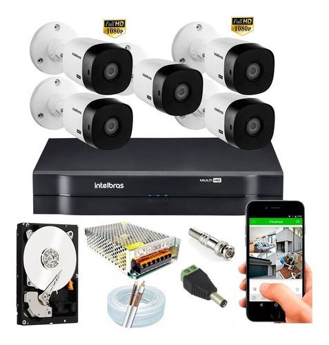 Kit Intelbras 5 Cam Fullhd 1220b 1080p Dvr Mhdx 1108 C/2tb