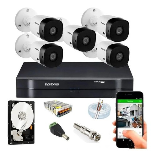 Kit Intelbras 5 Cam Vhl 1120b 20m Dvr 1108 08ch C/hd Purple