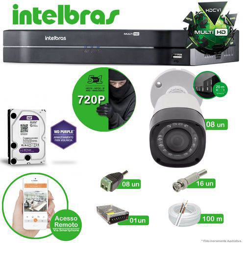 Kit Intelbras 8 câmeras Multi HD VHD 1120B G4 - DVR MHDX 1008 08 canais + HD 1 TB Purple + Acessórios