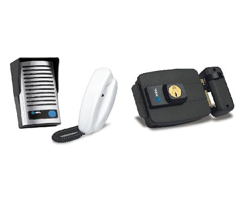 Kit Porteiro Eletronico Interfone F8-NTL + Fechadura C90 Preta Abertura P/Dentro HDL