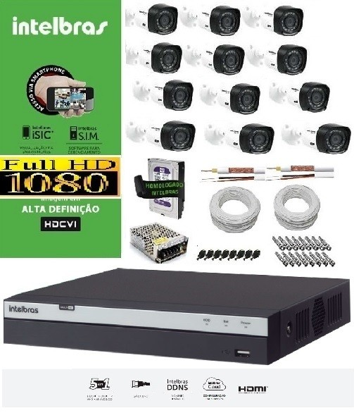 KIT COMPLETO MULTIHD INTELBRAS- 12 CÂMERAS VHD 1220B 1080P E DVR STAND ALONE 3016 16 CANAIS FULL HD 1080P MULTI HD