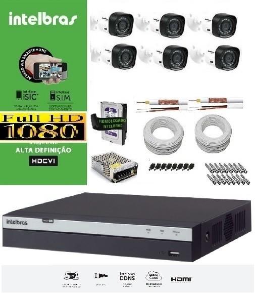 Kit COMPLETO MULTIHD INTELBRAS - 6 Câmeras VHD 1220B 1080P e DVR Stand Alone 3108 08 Canais Full HD 1080p