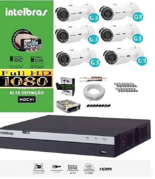 KIT COMPLETO MULTIHD INTELBRAS - 6 Câmeras VHD 3230B 1080P e DVR Stand Alone 3008 08 Canais Full HD 1080p
