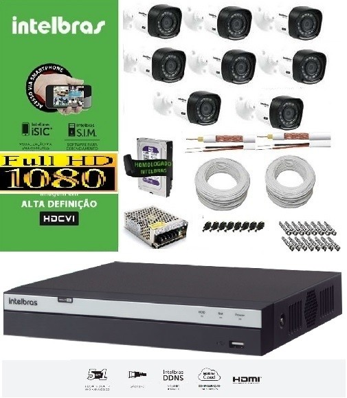 KIT COMPLETO MULTIHD INTELBRAS- 8 Câmeras VHD 1220B 1080P e DVR Stand Alone 3008 08 Canais Full HD 1080p