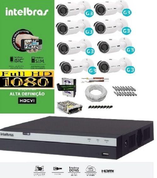 KIT COMPLETO MULTIHD INTELBRAS - 8 Câmeras VHD 3230B 1080P e DVR Stand Alone 3008 08 Canais Full HD 1080p