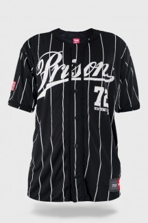 Camisa de Baseball Prison Streetwear Striped New York Black