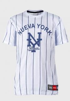 Camiseta Baseball listrada Prison Nueva York Branca