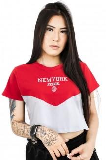 Camiseta Cropped Feminina Prison New York Red